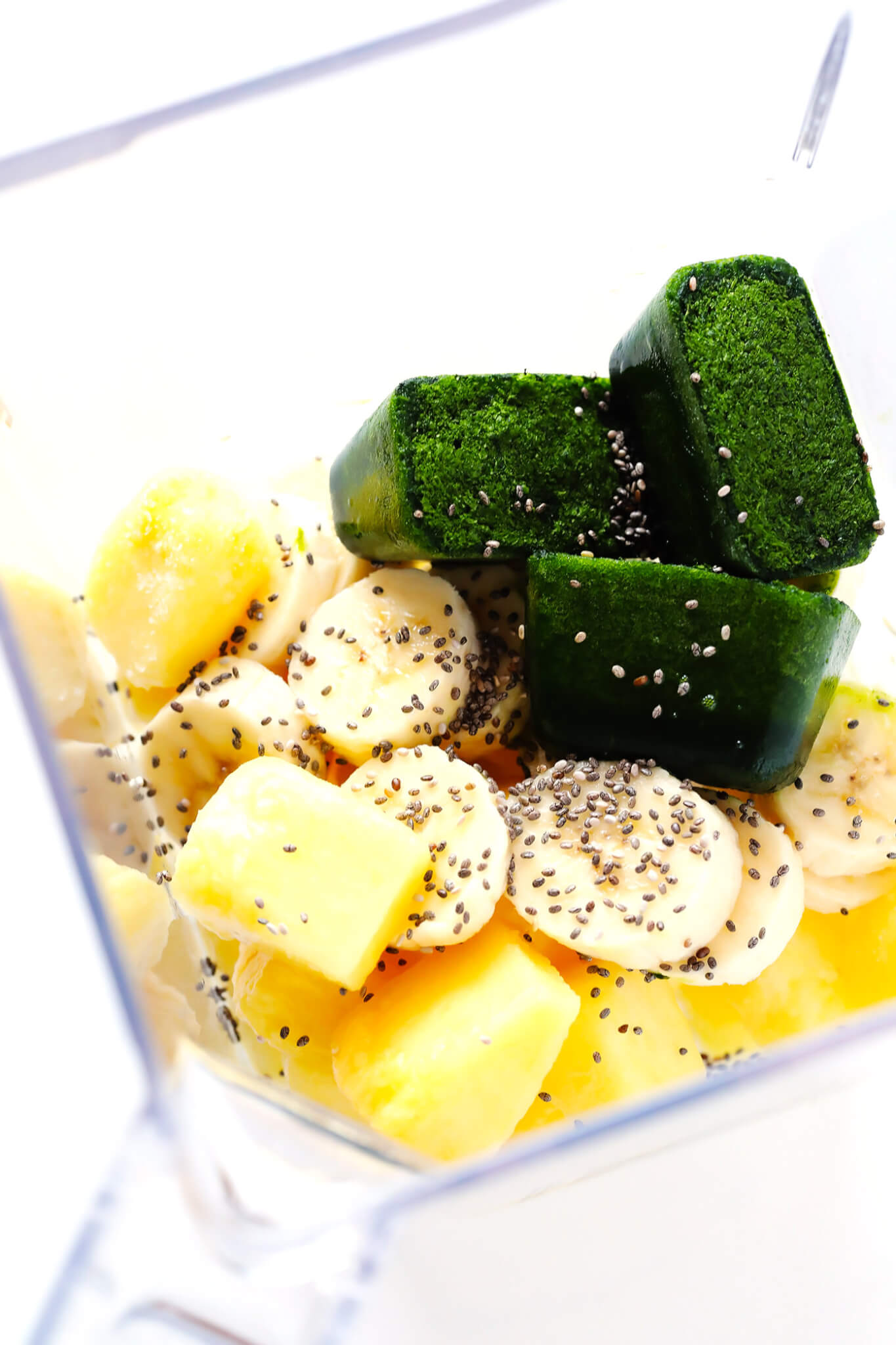 """Frozen Spinach Cubes are my favorite way to make a smoothie """"green""""! Just puree baby spinach and coconut water until smooth, freeze, and add to just about any smoothie. 