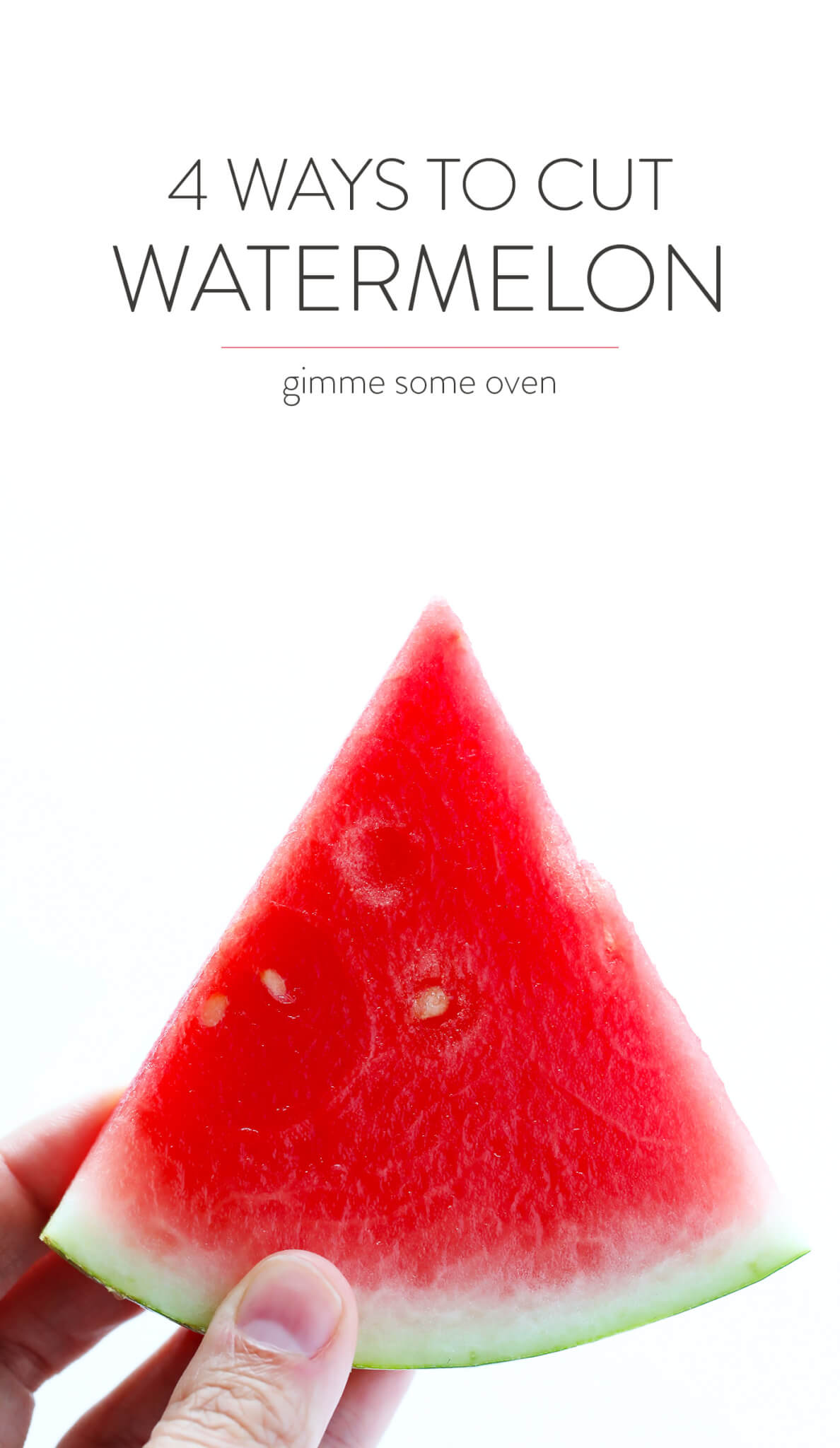 Learn how to cut watermelon 4 different ways (and safely!) with this quick 1-minute video. | gimmesomeoven.com