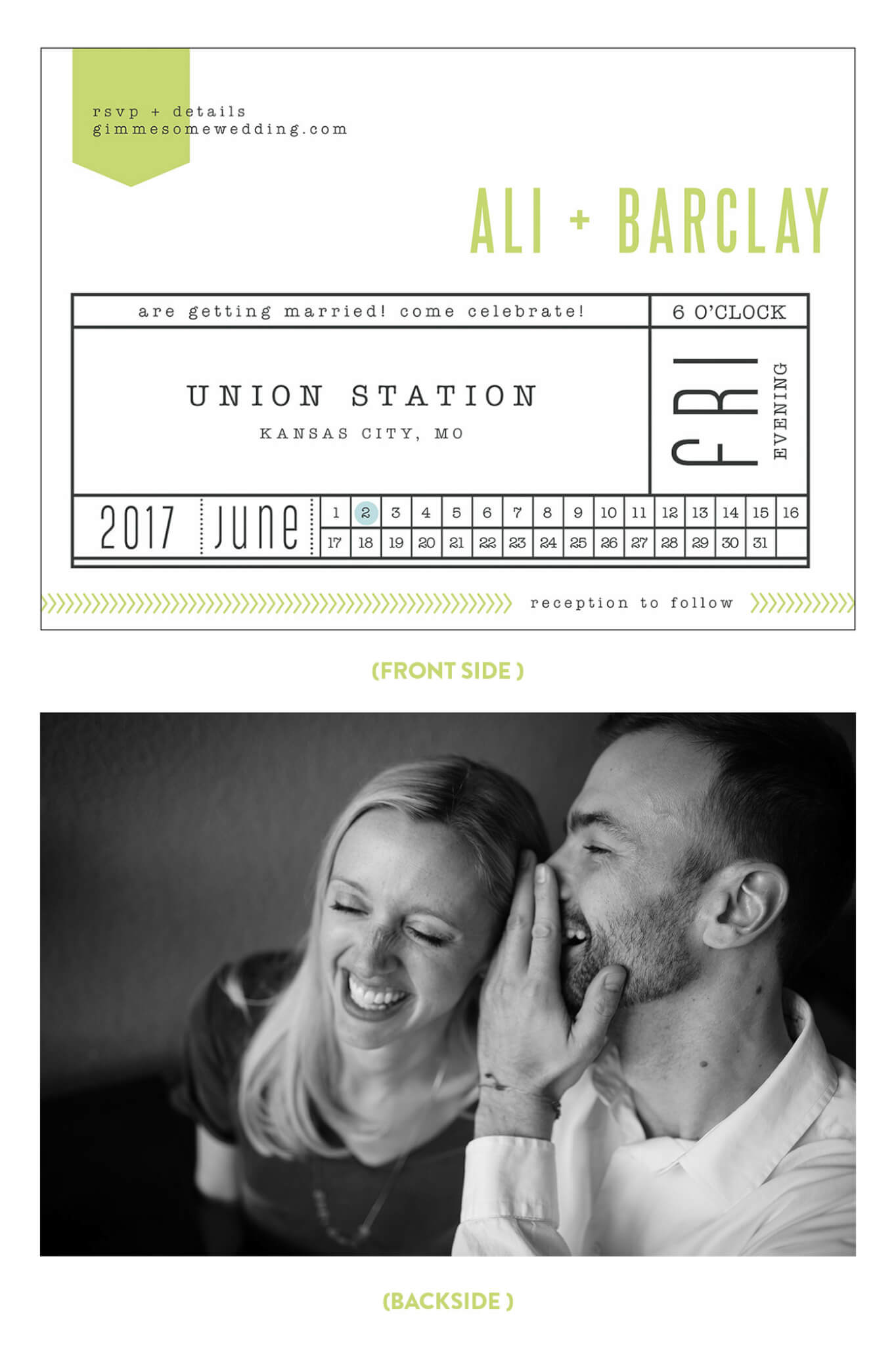 Our Printable Wedding Invitations From Minted -- so easy to use, and they looked like train tickets! | gimmesomeoven.com