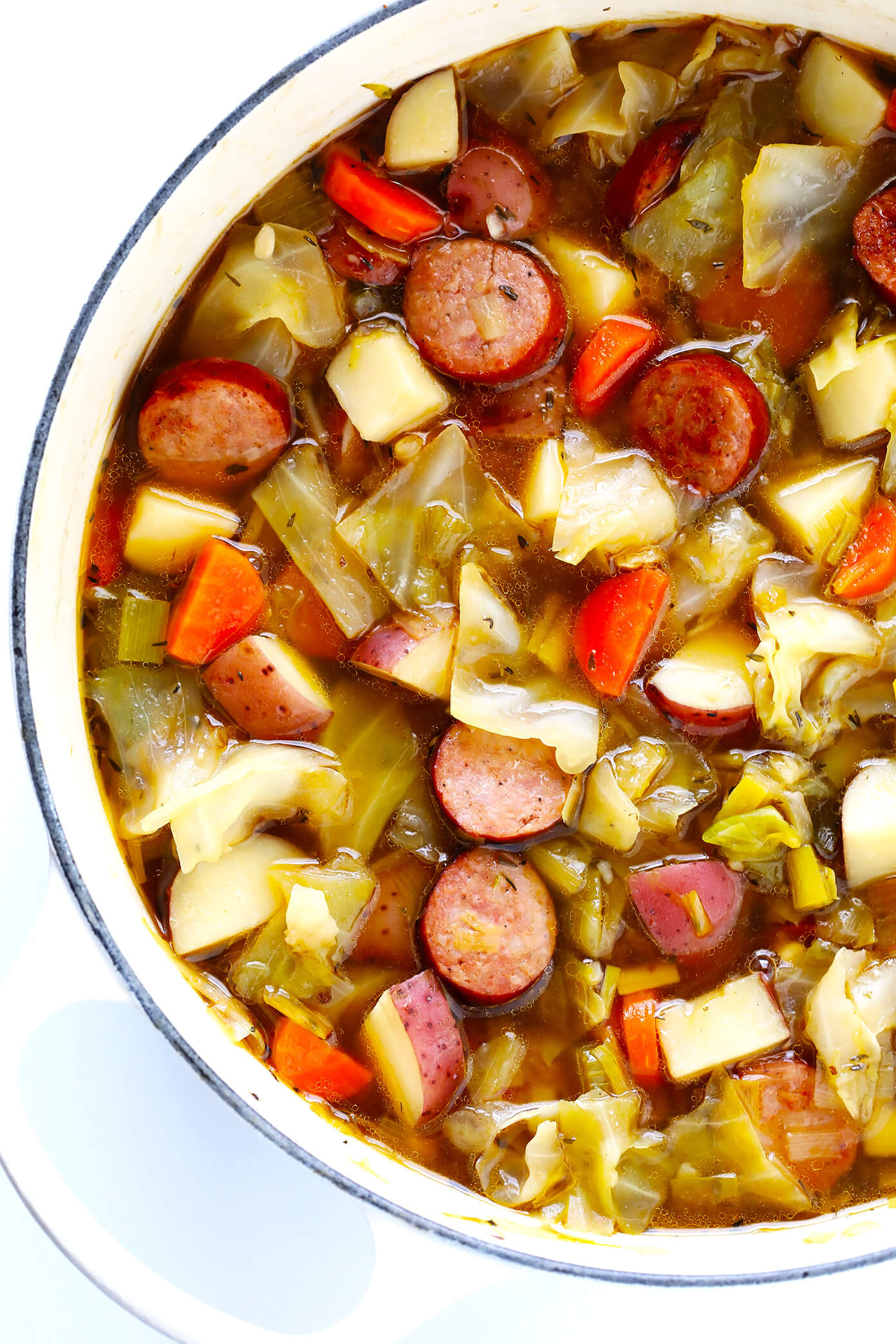 Cabbage, Sausage and Potato Soup Recipe from Gimme Some Oven