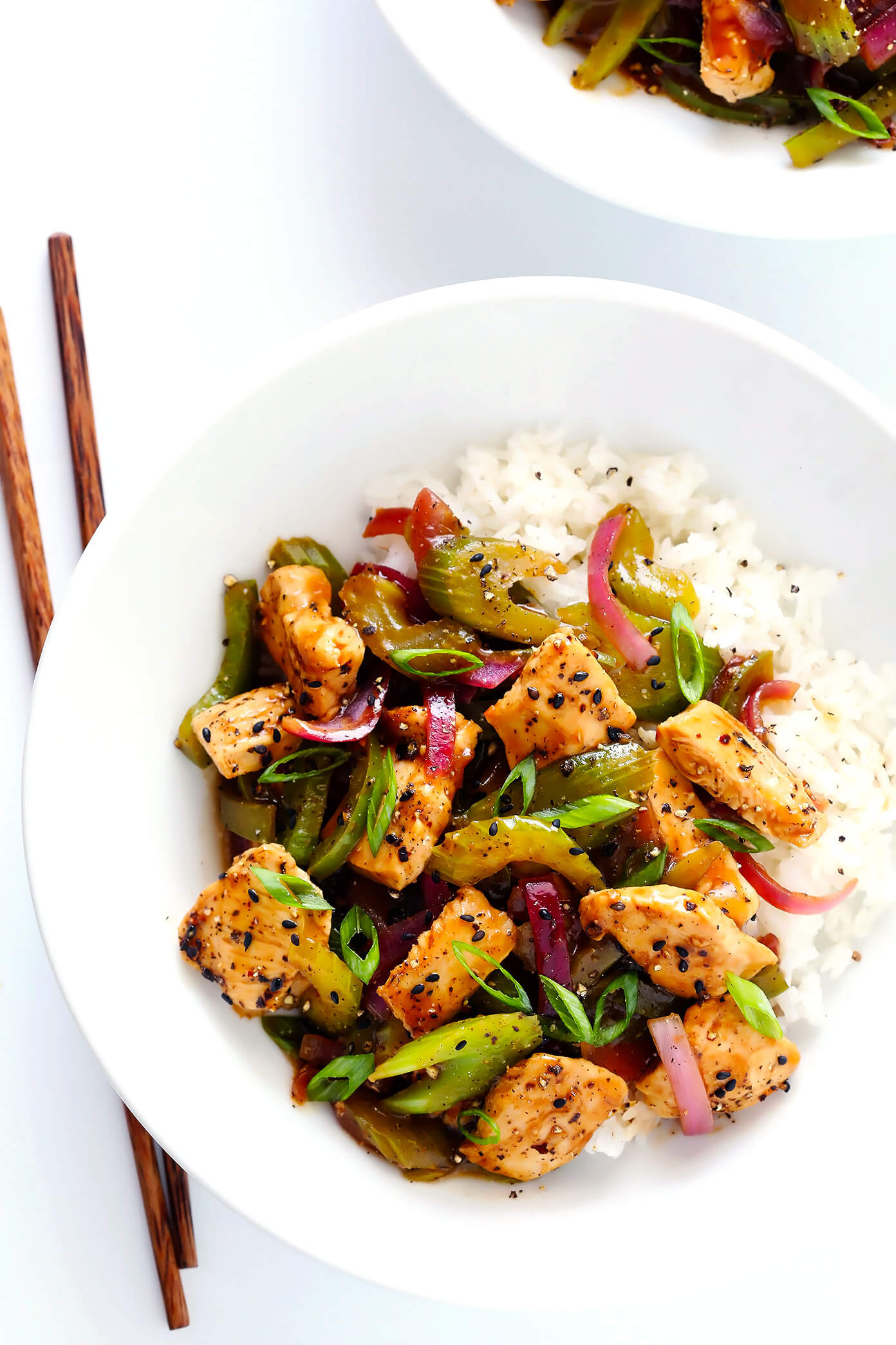 This 20-Minute Black Pepper Chicken recipe is quick and easy to make, and tastes even more delicious than the restaurant version! Feel free to sub in shrimp or tofu or beef or pork (in place of chicken), and add any of your other favorite veggies to the stir-fry. One of my favorite Chinese take-out recipes...made at home!   gimmesomeoven.com