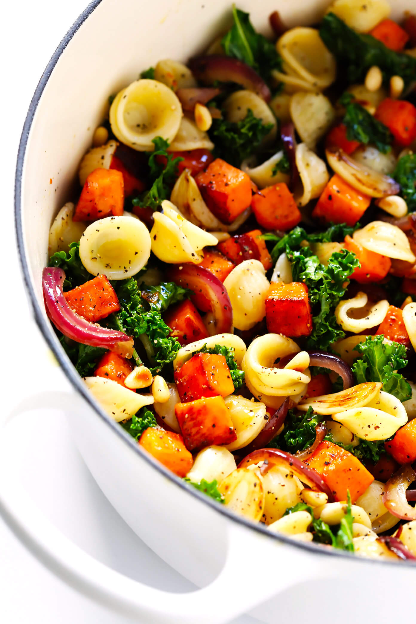 Pasta with Caramelized Sweet Potatoes, Kale, Balsamic and Parmesan