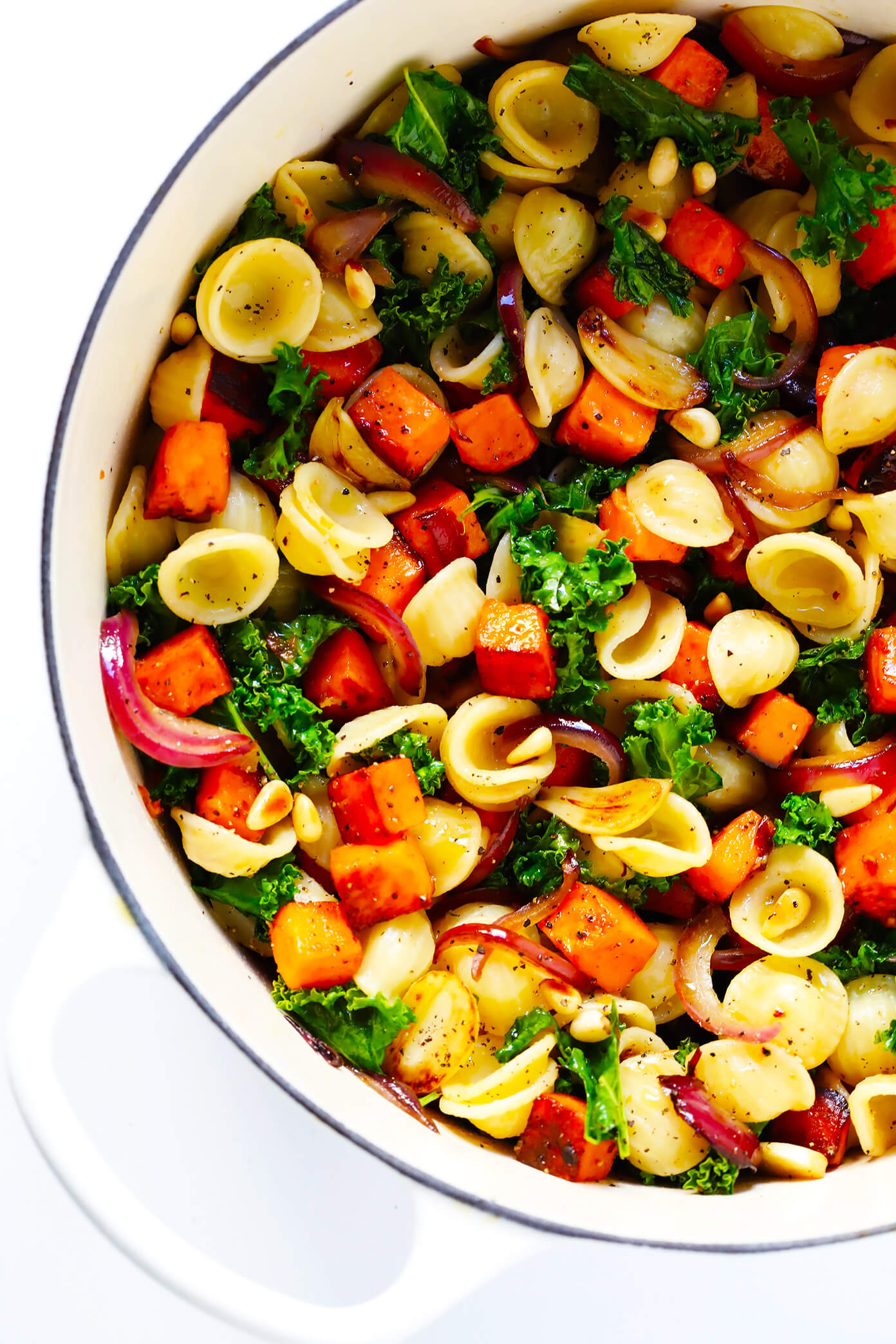 Pasta with Caramelized Sweet Potatoes and Kale Recipe