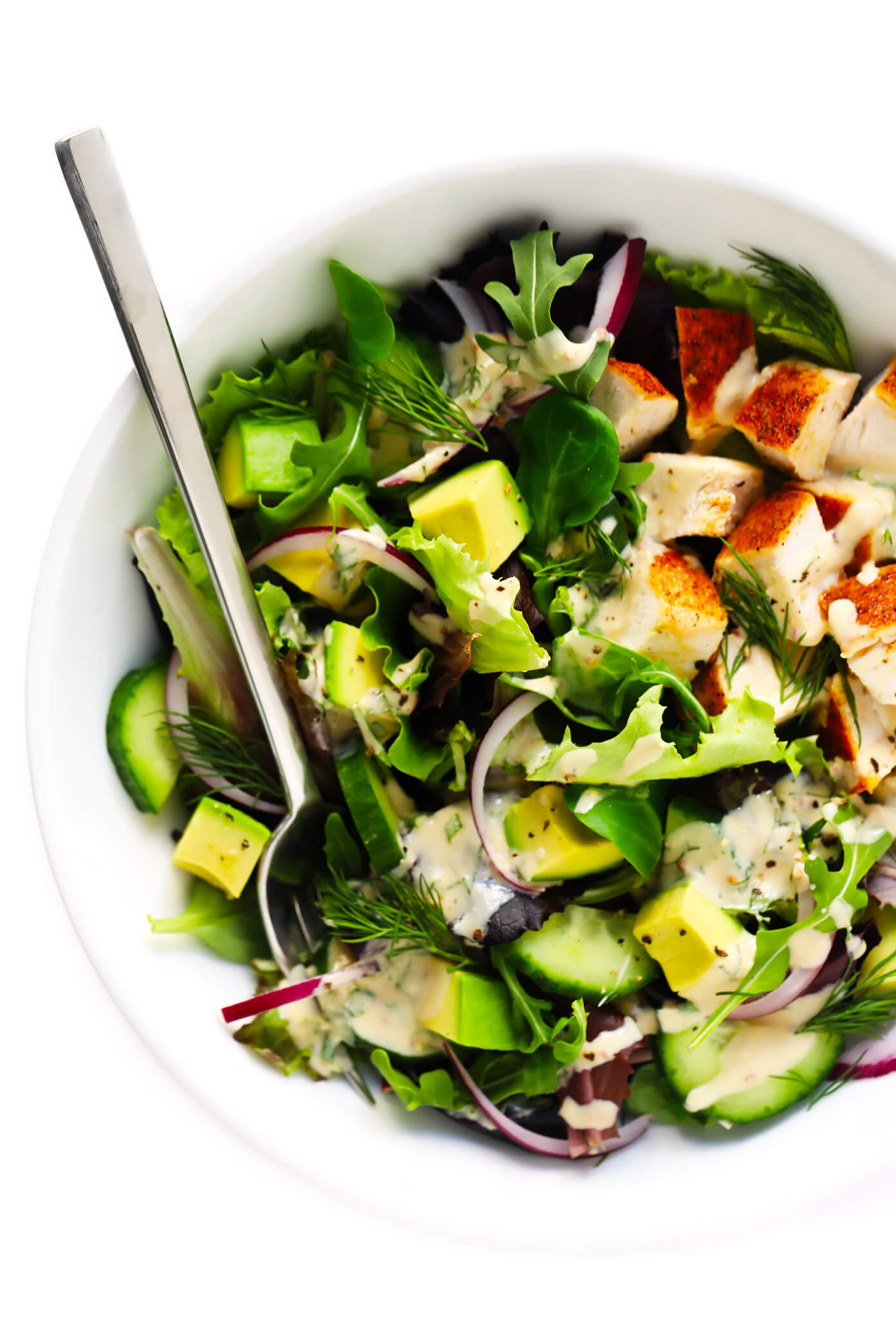Avocado Chicken Salad with Tahini Ranch Dressing