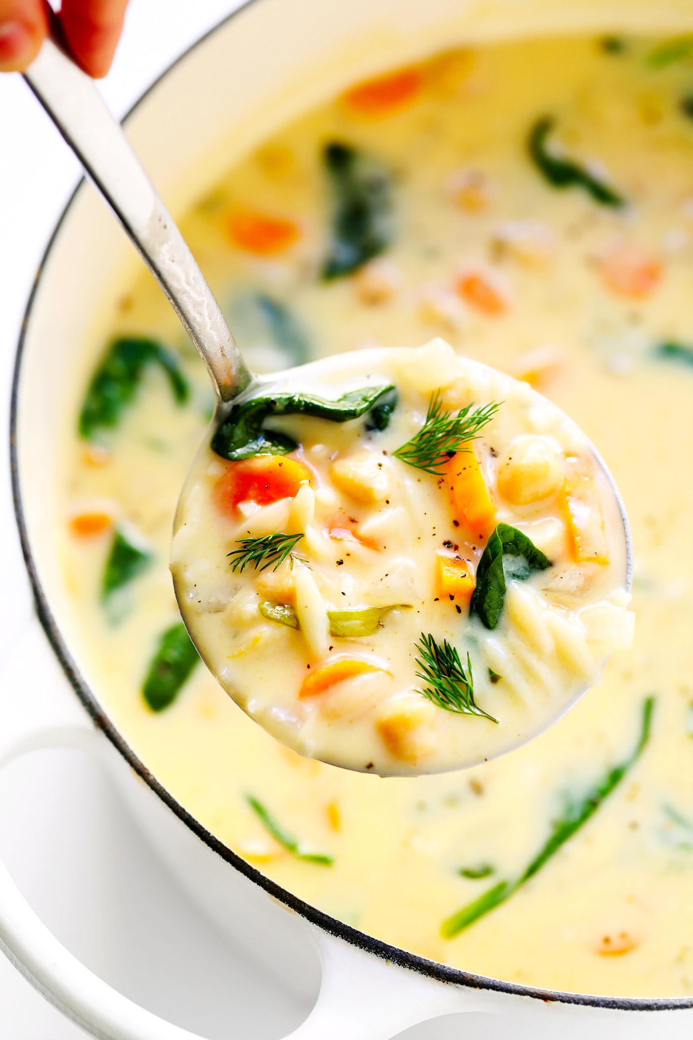 Greek Lemon Orzo Soup (Vegetarian)