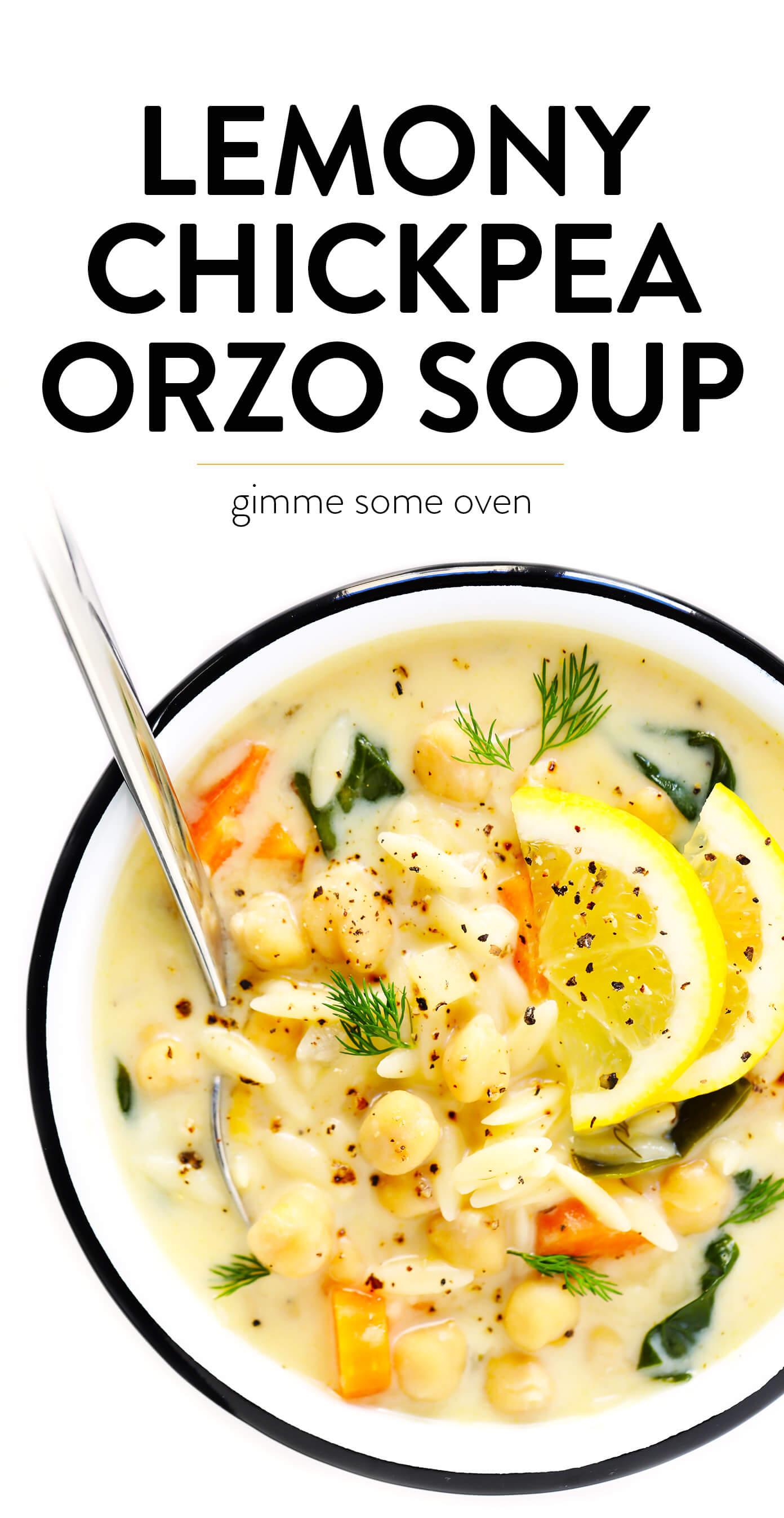 Lemony Chickpea Orzo Soup Recipe