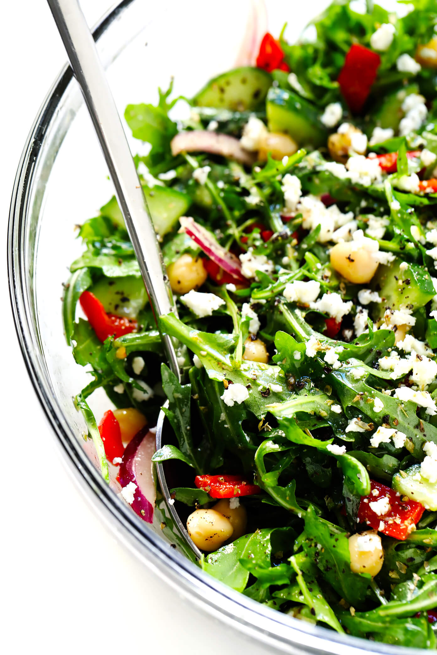 Greek Salad with Arugula and Chickpeas