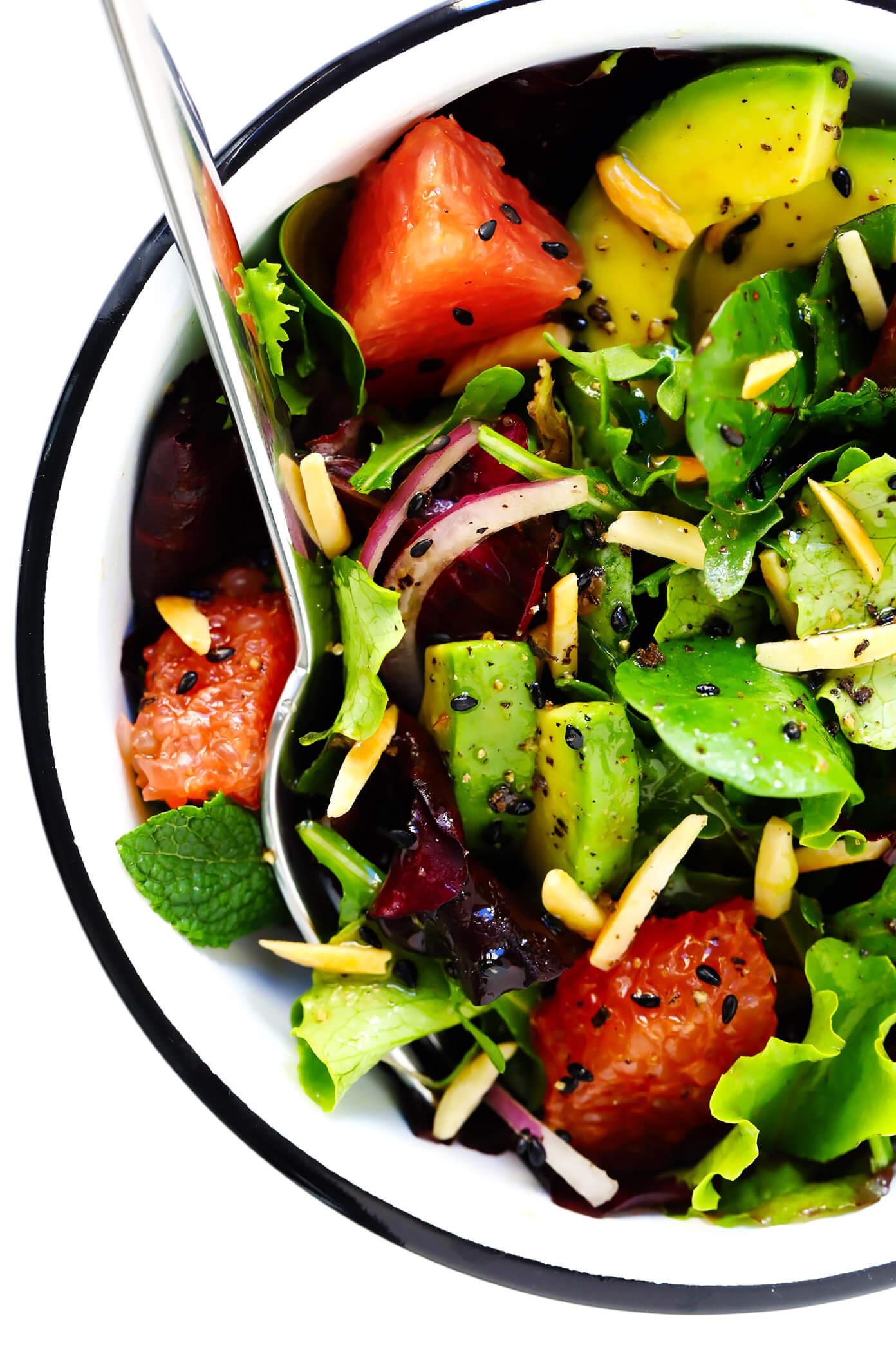 Sunshine Sesame Grapefruit Avocado Salad with Mint and Basil