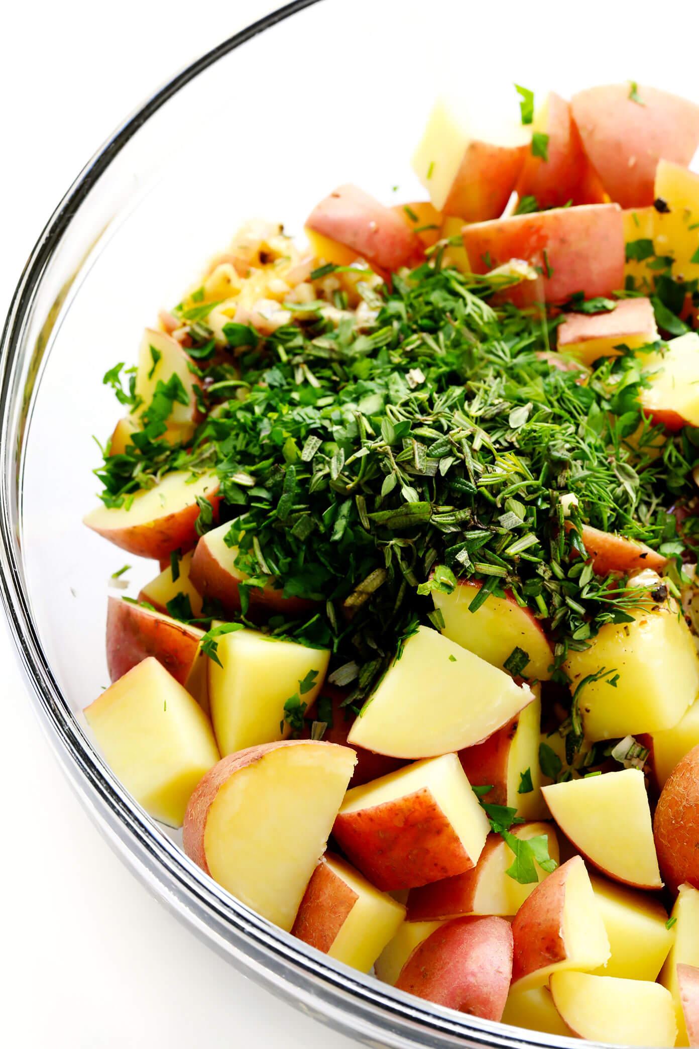 French Potato Salad Ingredients (Potatoes, Lemon Vinaigrette, Shallots and Fresh Herbs)