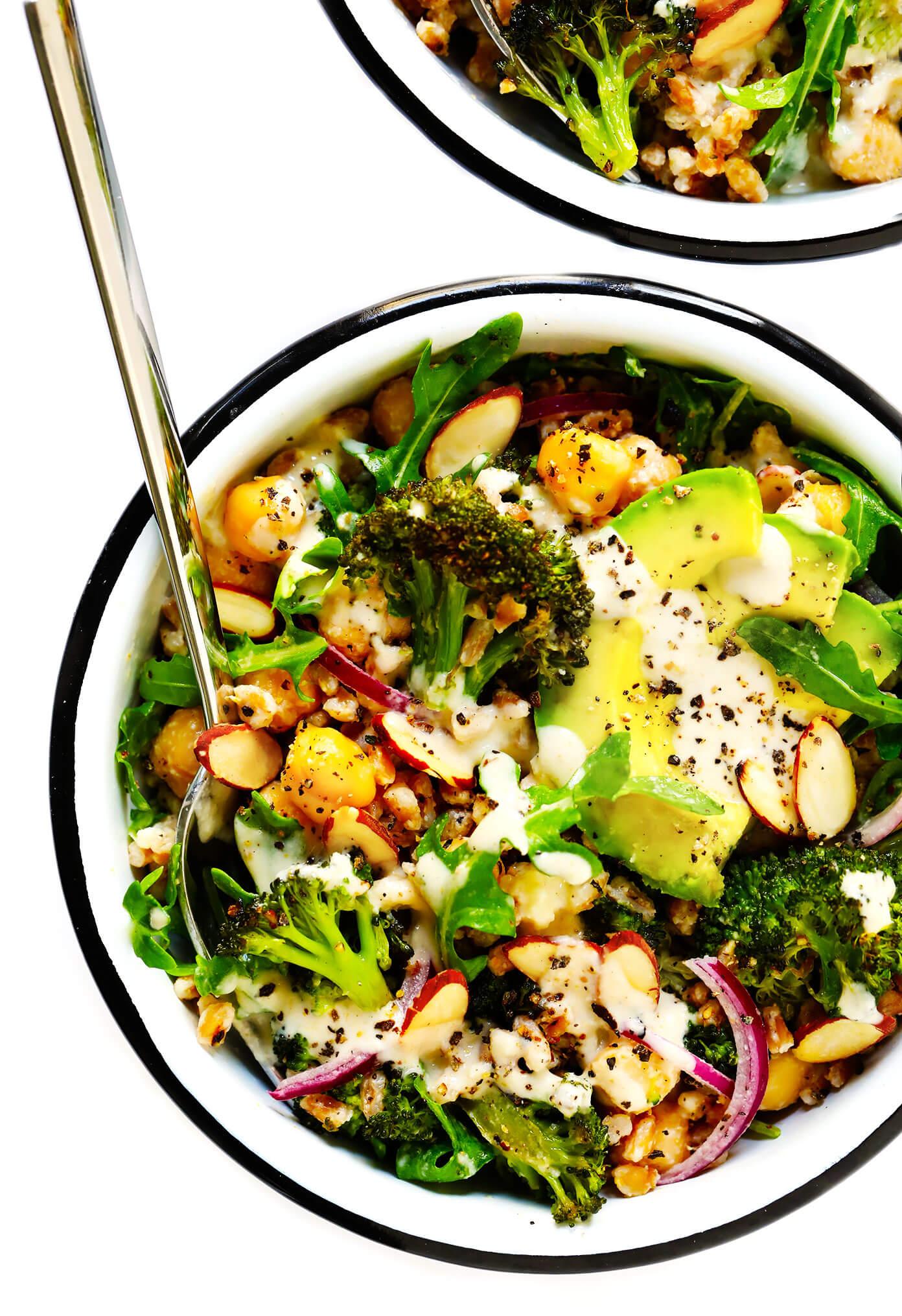 Roasted Broccoli and Farro Bowls
