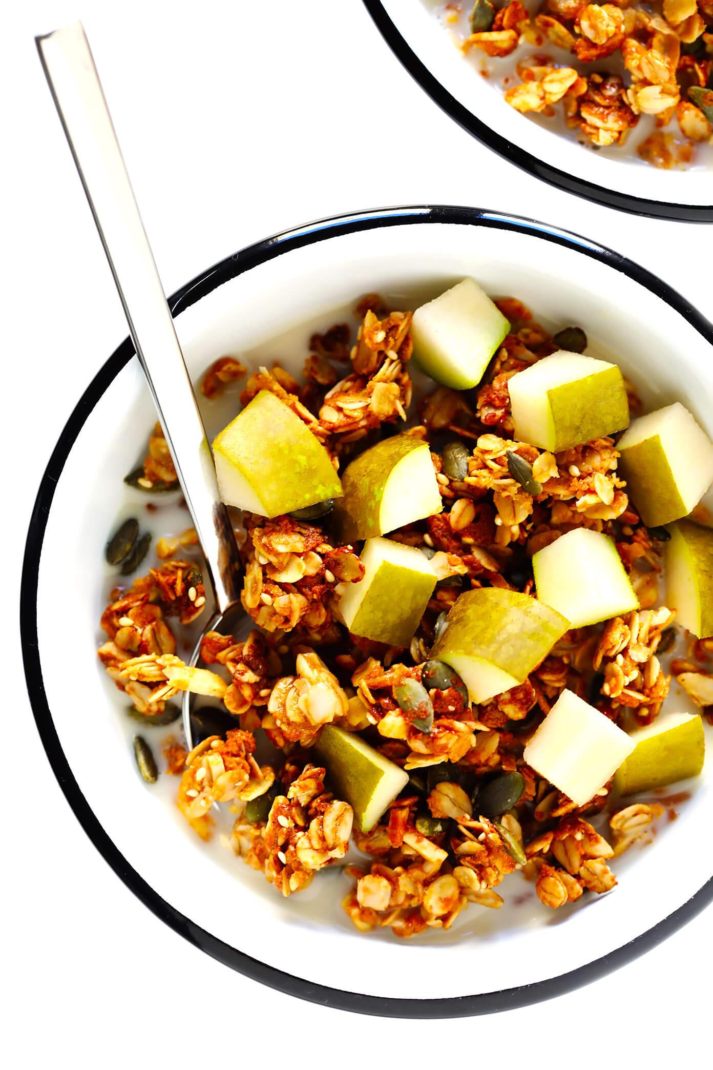 Tahini Granola with Almond Milk and Pears