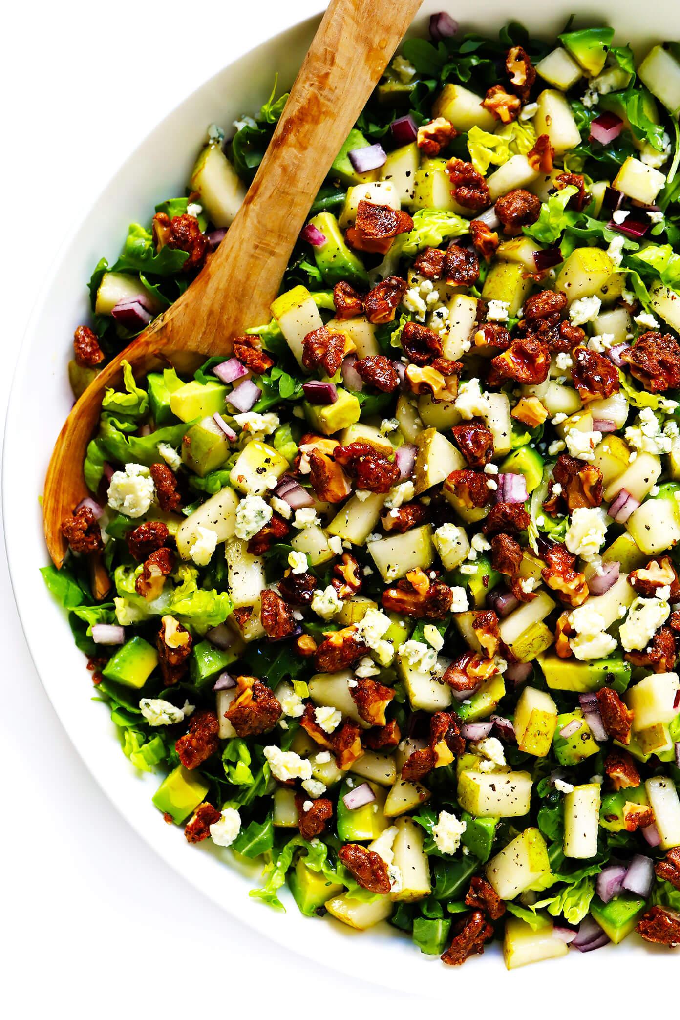 Pear Salad Recipe with Gorgonzola, Avocado, Arugula and Candied Walnuts