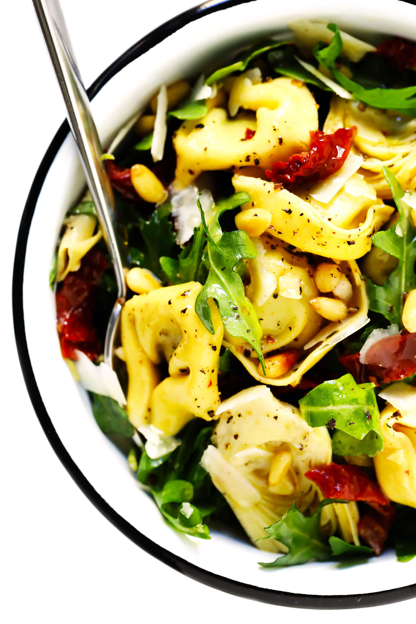 Tortellini Pasta Salad with Artichokes, Sun-Dried Tomatoes, Pine Nuts, Arugula and Parmesan