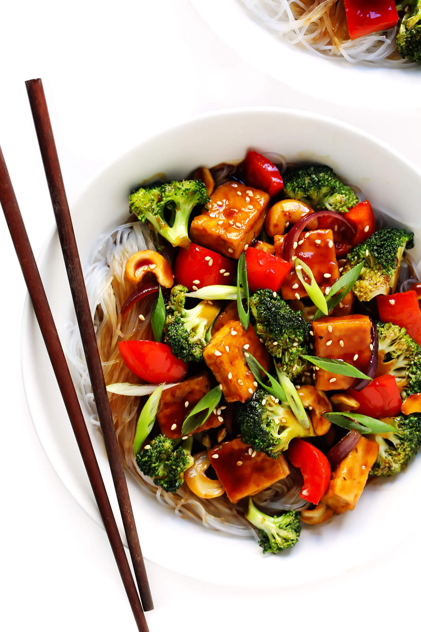 Cashew Tofu with Broccoli, Bell Peppers, Onions and Rice Noodles