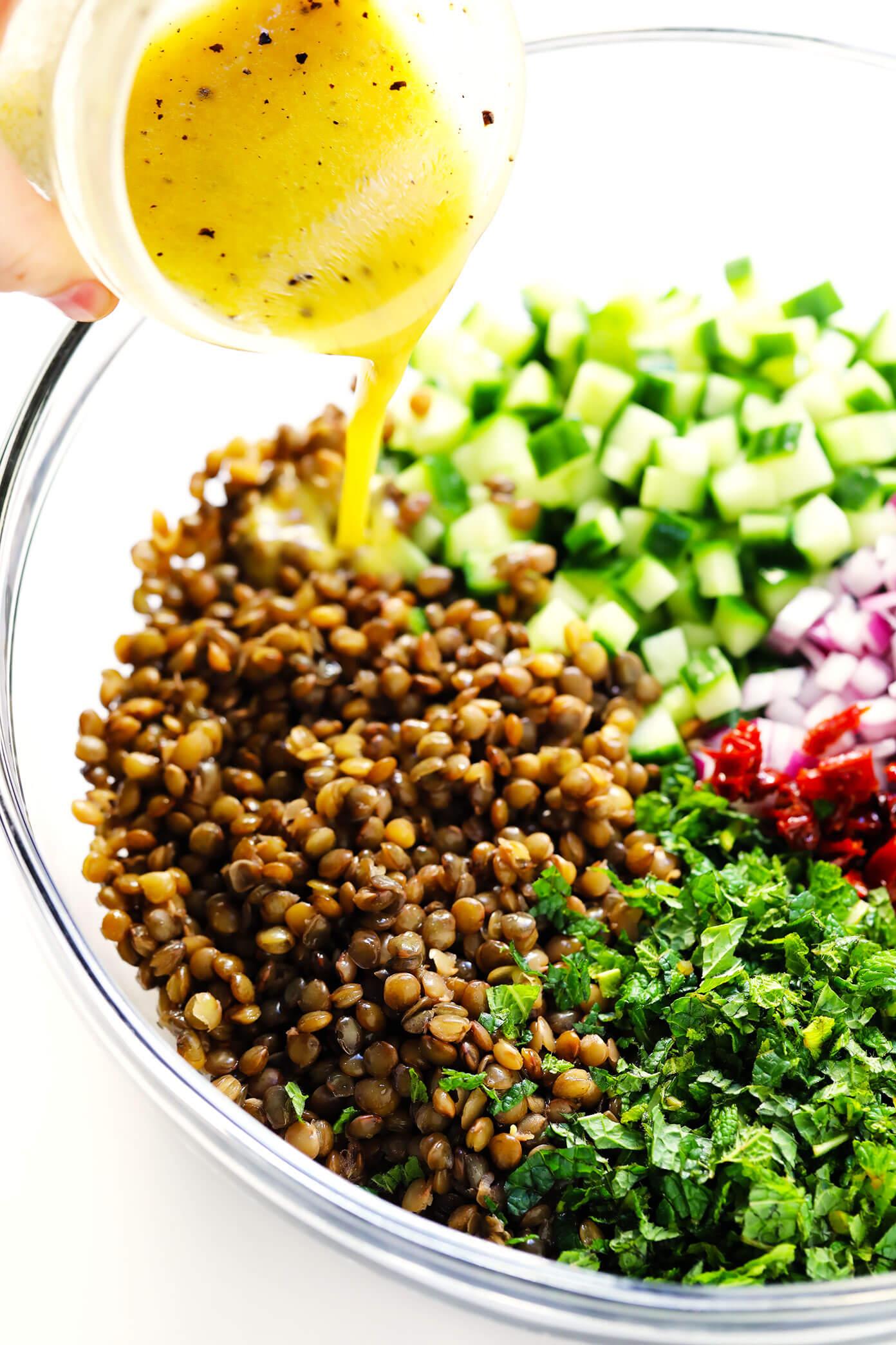 Healthy Lentil Salad with Lemon Dressing